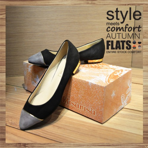 Two Tone Contrast Pointed Ladies Flat | black-grey | Handmade | RS2921A