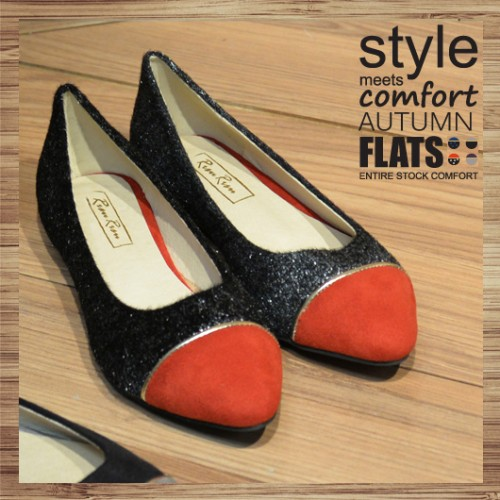 Two Tone Contrast Pointed Ladies Flat | red-black | Handmade | RS2921B