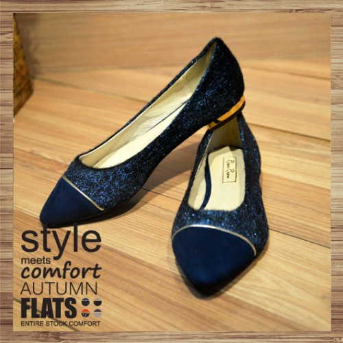 Two Tone Contrast Pointed Ladies Flat | blue | Handmade | RS2921C