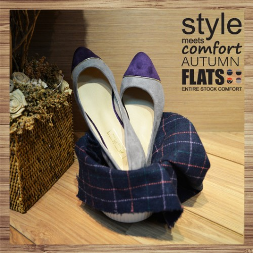 Two Tone Contrast Pointed Ladies Flat | purple-grey | Handmade | RS2921D