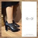 V-shaped oblique cut with leather high boots black / RS3011A