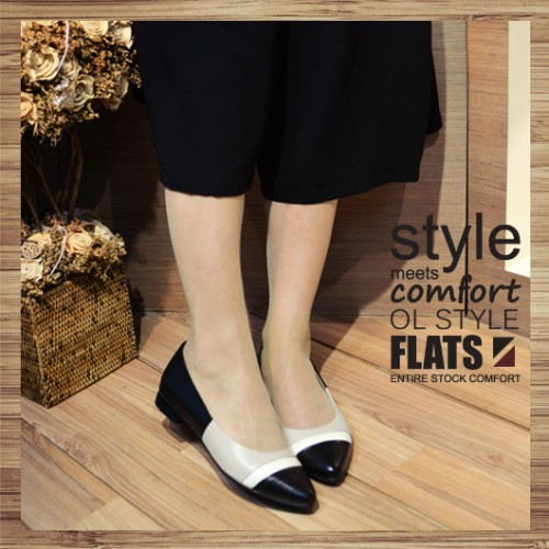 Contrast Pointed Ladies Shoes_ Elegant Hepburn | Leather | Handmade | RS3013A