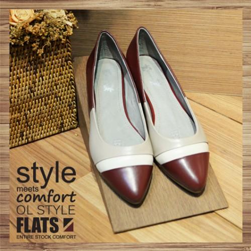 Contrast Pointed Ladies Shoes_ Elegant Hepburn | Leather | Handmade | RS3013B