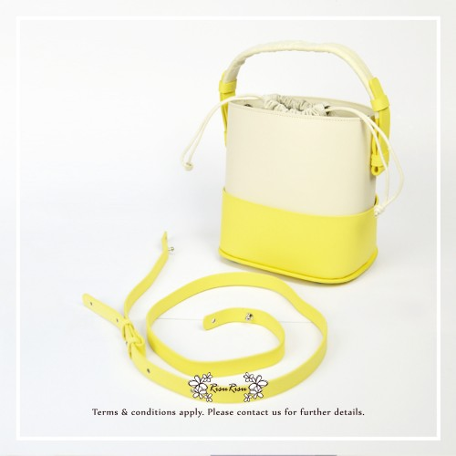 Drawstring Bag / Fashion & delicate handmade handbag / Cow Leather / Two tone color / RB10721