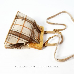 Clutch Bag | Checked Wool | Wooden Handle | RB10833