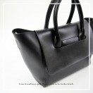 Clamshell simple design leather portable shoulder with large briefcase black | RB10889