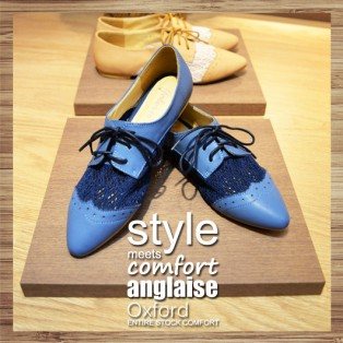Round Hole Basket Empty Pointed / Oxford Leather Shoes / Blue / RS3009B