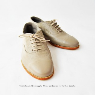 Grey Oxford Shoes / Lacing Style / Leather Flat Women's Casual Shoes / RS3071A