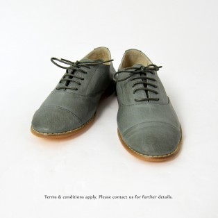 Charcoal _ Oxford Shoes / Lacing Style / Leather Flat Women's Casual Shoes / RS3071B