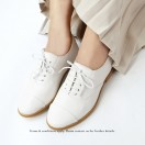 White Oxford Shoes / Small White Shoes / Leather Flat Women's Casual Shoes / RS3071C