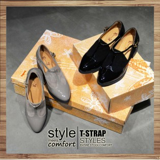 T-strap styles / Banded bandage basket empty structure minimalist leather shoes / RS3085B