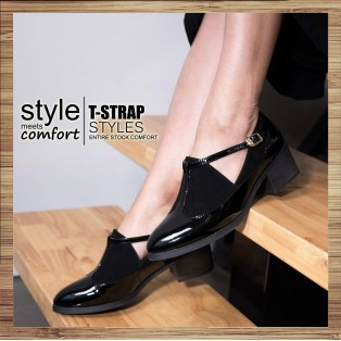 T-strap styles / Banded bandage basket empty structure minimalist leather shoes / RS3085A