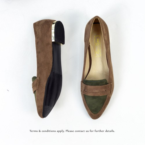 Beauty Simple Loafers / Frosted Dark Beige with Khaki / RS3525B