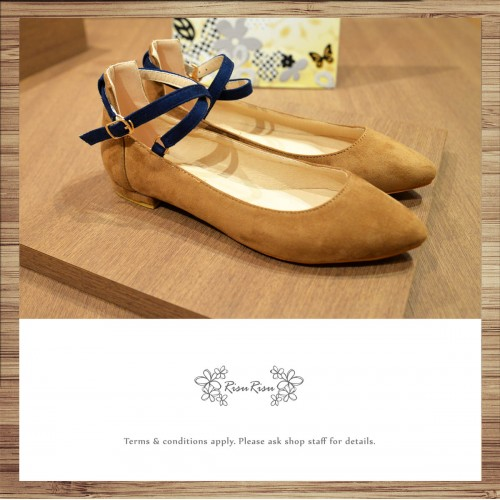 X-Strips Two-Tone Flat Shoes Brown × Navy / RS3827C