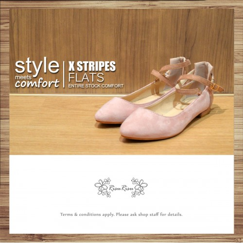 X-Strips Two-Tone Flat Shoes (Pink) / RS3827B