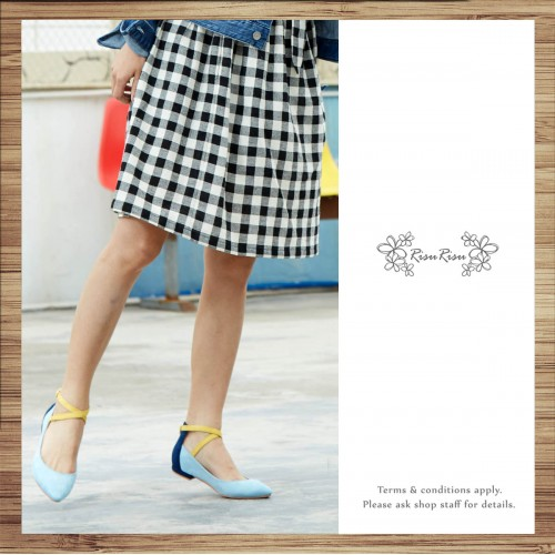 X-Strips Two-Tone Flat Shoes Baby Blue × Navy / RS3827A