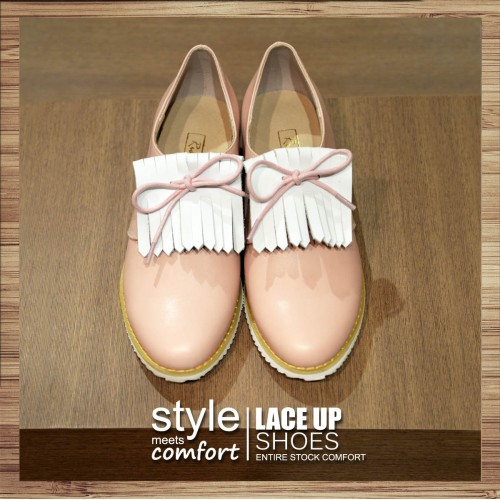 Lace-up tassel casual shoes with (Pink) Leather insole | RS3837C