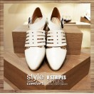 Middle Empty Straps / Deformation Oxford Leather Shoes / Handmade Shoes / White / RS3840A