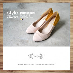 Covered Painted Color /  Low-Heeled Elastic Heel / Handmade / RS3985A