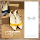 Thin Skinned Feet! Elegant Velvet Two-Tone Flat Shoes Beige × Yellow / RS3993A