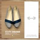 Thin Skinned Feet! Elegant Velvet Two-Tone Flat Shoes Grey × Navy / RS3993B