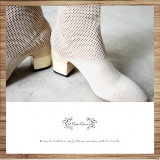 Woven / Elastic / Ankle Boots / Beige / RS5022A