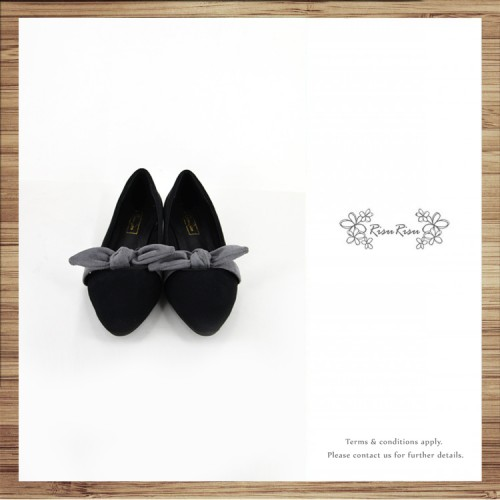 Ribbon flat pumps / Handmade / Black / RS5032A