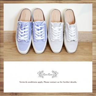 Mule canvas shoes / Light pgrey  / Lace up / Insole With Soft Cushions  / With scatter ends / RS5920A