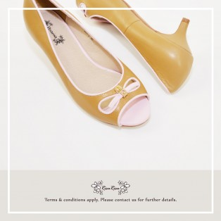 Open-Toe / Genuine Leather / Heels / Beige+Pink / Ribbon / RS5966A