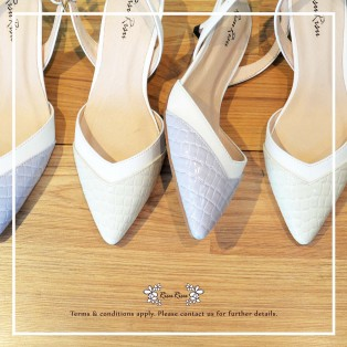 Natural Milk White / Two Tones Heels / Handmade / Full leather / RS5977B