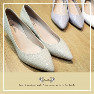Crocodile White  /  Sheepskin Low Heels / Handmade / Full leather / RS5983C