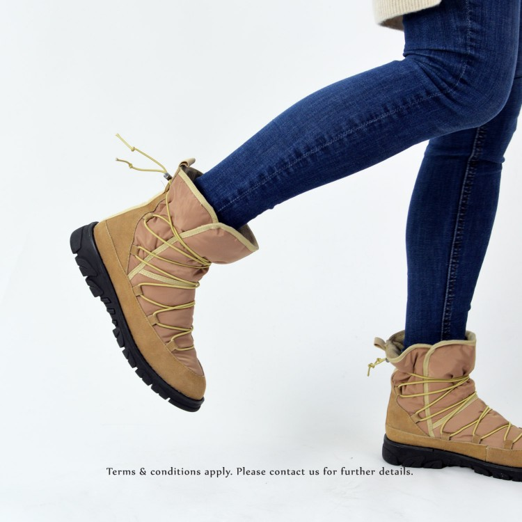Elastic structure snow boots   Lace up