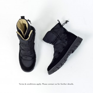 Elastic structure snow boots | Lace up | Non-slip | Fashion | Black | RS6002A