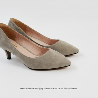 Grey Low heels / Handmade / Pointed Shoes / RS6025C