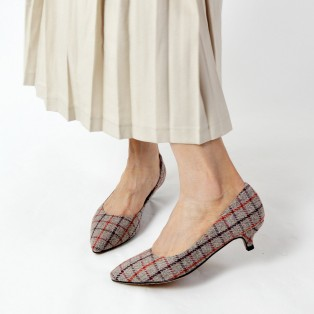 Checkered Pattern Low heels / Handmade / ファブリック Fabric / RS6025A