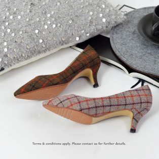 Checkered Pattern Low heels | Handmade | ファブリック Fabric | Brown | RS6027A