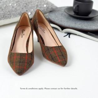 **予約品15/11到貨** Checkered Pattern Low heels | Handmade | ファブリック Fabric | Brown | RS6027A