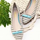Stripes / Pointed Flats Shoes / Flats wirh Ribbon / RS6121