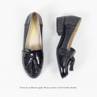 ★ NEW ★  Risurisu | Enamel upper  | Handmade | Block Heels | Black | RS6302A
