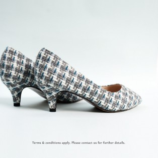 Grey Checkered heels / Handmade / ファブリック Fabric / RS6323A