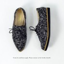 Ladies pointed shoes / Lace-up shoes / Platform shoes / Glossy material / Easy to wear design / Black / 6558B