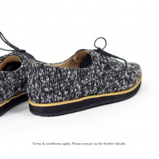 Ladies pointed shoes / Lace-up shoes / Platform shoes / ファブリック Fabric  / Easy to wear design / D.Grey / 6558C