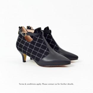 Risurisu Ankle Boots / Handmade / B&W Checkered Pattern Leather / RS6579C