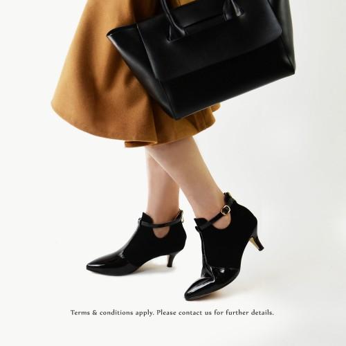 Risurisu Ankle Boots / Handmade / Black Leather / RS6579B