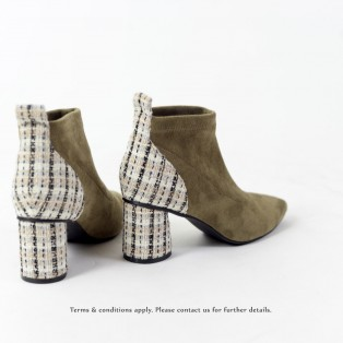Elastic Ankle Boots | Handmade | Checkered Pattern Leather | Khaki | RS6607B