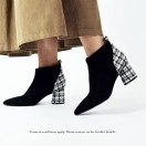 Elastic Ankle Boots | Handmade | Checkered Pattern Leather | Black | RS6607A