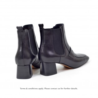 Elastic ankle boots | Lamb leather | Square toe | Fashion | Alvia | Black | RS6663B