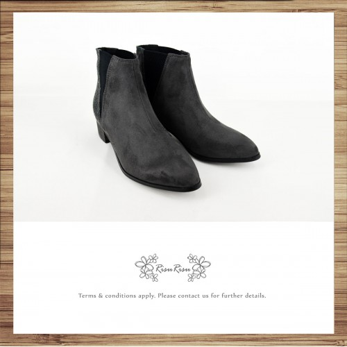 Checkered / Different material stitching retro small fine boots / RS6700A