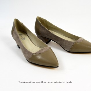 Classic Square Heel Shoes | Grey | Thick Heel | Retro | Leather Shoes | RS6833B