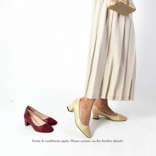 Square Toe | Leather Shoes  | Formal Loafer | Office Lady Pumps | Nude | RS6868A